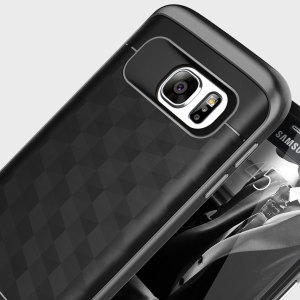 Protect your Samsung Galaxy S7 with this stunning premium dual-layered shell case in black. Made with tough dual-layered yet slim material, this hardshell body with a sleek metallic bumper features an attractive two-tone finish.