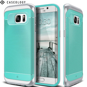 Made from rugged TPU and tough polycarbonate and featuring a stunning waved grip design, the Wavelength Series tough case in turquoise mint and silver keeps your Galaxy S7 Edge safe, slim and stylish.