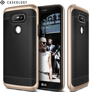 Made from rugged TPU and tough polycarbonate and featuring a stunning waved grip design, the Wavelength Series tough case in black and gold keeps your LG G5 safe, slim and stylish.