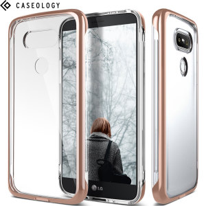 Protect your LG G5 with this precision made rose gold and clear case from Caseology. Made with a robust minimalist ethic, this see-through case offers protection for your phone while still maintaining its natural charms.