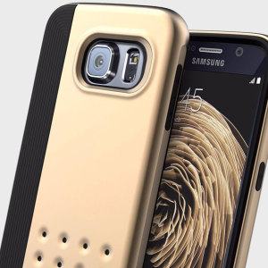 Protect your Samsung Galaxy S6 with this stunning premium dual-layered slim armour case in black and gold. Made with tough dual-layered materials to provide extra grip, shock-absorbency and an eye-catching aesthetic.