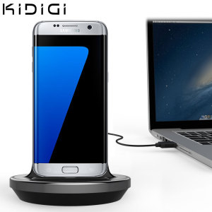Synkronisera och ladda din Samsung Galaxy S7 Edge med denna stilfulla stationär docken som är även skal kompatibel och fungerar som utmärkt bordsställ.