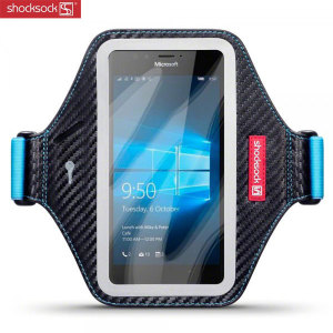 Carry your Microsoft Lumia 950 securely while you're exercising using the Shocksock Armband in black and blue. This comfortable armband is flexible and adjustable and made out of a lightweight material.