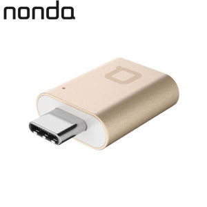 The Nonda adapter in gold will turn your USB Type-C port into a full sized USB input and use memory sticks, card readers, keyboards and more on your USB Type-C compatible computer with this USB-C to USB Female Mini Adapter.