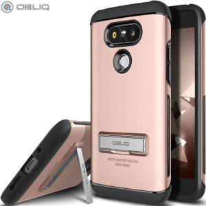 The Obliq Skyline Advance Pro Stand Case in rose gold is an ergonomic protective case for the LG G5, providing fantastic shock absorption without adding excessive bulk. It also features a built-in stand for viewing media.