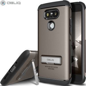 The Obliq Skyline Advance Pro Stand Case in gun metal is an ergonomic protective case for the LG G5, providing fantastic shock absorption without adding excessive bulk. It also features a built-in stand for viewing media.