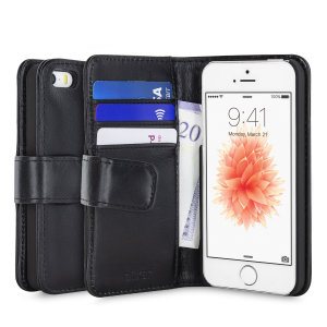 A sophisticated lightweight black genuine leather case with a magnetic fastener. The Olixar genuine leather wallet case offers perfect protection for your iPhone SE, as well as featuring slots for your cards, cash and documents.