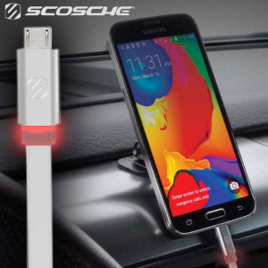 The FlatOut charge and sync cable in white from Scosche allows you to charge Micro USB devices. This non-tangle flat design is perfect for avoiding messy cables and even features a built-in LED for finding ports in the dark.