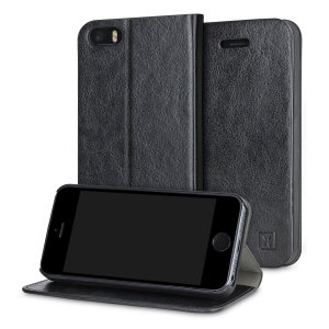 Protect your iPhone SE with this durable and stylish black leather-style wallet case from Olixar, featuring card slots and a document pocket. What's more, this case transforms into a handy stand to view media.