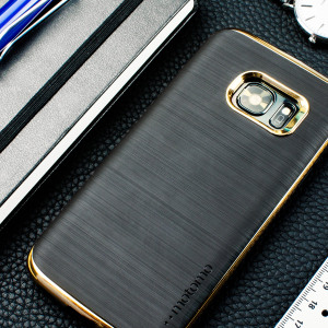 Protect your Galaxy S7 with the Ino Line Infinity case in stone black / chrome gold from Motomo. Featuring a brushed metal style TPU back and polycarbonate bumper, this premium case keeps your iPhone protected at all times.