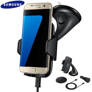 Support Voiture & Chargeur Officiel Samsung Galaxy S7 Edge Qi - Noir