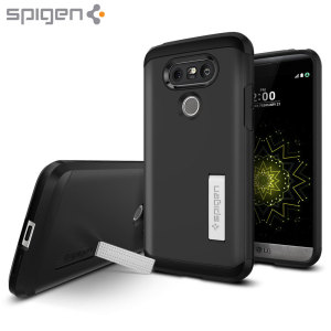 The Spigen Tough Armor in black is the new leader in lightweight protective cases. The new Air Cushion Technology corners reduce the thickness of the case while providing optimal protection for your LG G5.