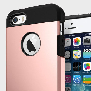 The Spigen Tough Armor Case in rose gold is the ultimate protective case for the iPhone SE, providing superb impact absorption due to Spigen's air cushion technology.