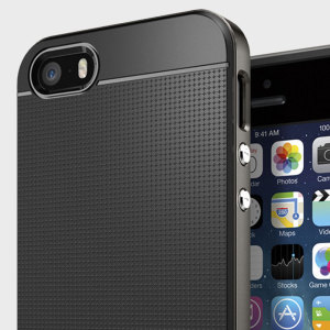 Preserve the slim profile of your iPhone SE while giving it optimal protection with this gunmetal Neo Hybrid Spigen case.