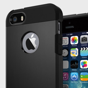 The Spigen Tough Armor Case in black is the ultimate protective case for the iPhone SE, providing superb impact absorption due to Spigen's air cushion technology.