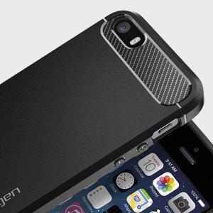 Combine el nuevo diseño de la funda Spigen Rugged Armor con su SiPhone SE. Fabricada de un material flexible, el TPU, incluye un diseño elegante y diferenciador con una textura similar a la de la fibra de carbono, perfecta para mantener seguro su dispositivo.