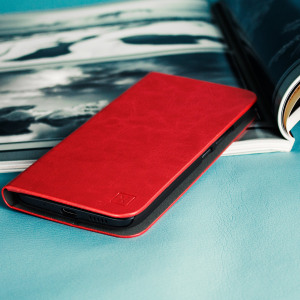 Housse HTC 10 Olixar Portefeuille Support Simili Cuir - Rouge