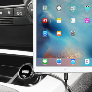 Keep your Apple iPad Pro 9.7 inch fully charged on the road with this high power 2.4A Car Charger, featuring extendable spiral cord design. As an added bonus, you can charge an additional USB device from the built-in USB port!