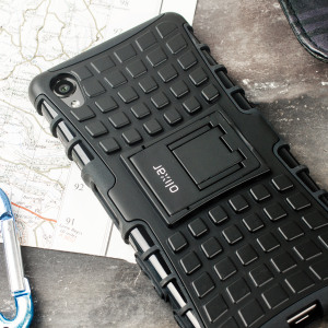 Protect your Sony Xperia X from bumps and scrapes with this black ArmourDillo case from Olixar. Comprised of an inner TPU case and an outer impact-resistant exoskeleton, with a built-in viewing stand.