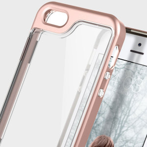 Coque iPhone SE Caseology Skyfall Series – Or Rose / Transparent