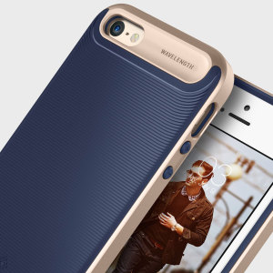 Made from rugged TPU and tough polycarbonate and featuring a stunning waved grip design, the Wavelength Series tough case in navy blue and gold keeps your iPhone SE safe, slim and stylish.
