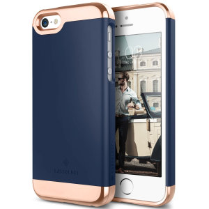 Made from robust smooth finish sliding components and featuring an eye-catching matte and metallic design, the Savoy Series slider case in navy blue and rose gold keeps your iPhone SE safe, sleek and stylish.