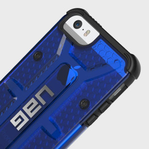 Urban Armour Gear presents a hard armor shell in blue with an impact-resistant soft core, specifically designed to protect your iPhone SE.