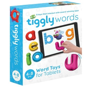 Tiggly Words is a set of interactive toys and apps for children aged 4-8, designed to bring letters and words to life. It's compatible with both Apple and Android tablets and doesn't require Wi-fi, batteries or Bluetooth