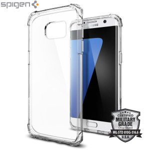 Protect your Samsung Galaxy S7 Edge with military grade precision. The Spigen Crystal Shell has Air Cushion Technology and 4 reinforced corner guards for added impact and drop protection.