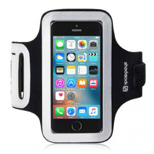 Carry your Apple iPhone SE securely while you're exercising using the Shocksock Armband in black. This comfortable armband is flexible and adjustable and made out of a lightweight material.