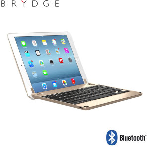 "This durable highly stylish BrydgeAir iPad aluminium Bluetooth keyboard case in gold lets you type faster, while at the same time protecting your iPad 2017, Pro 9.7"", Air 2 or Air and also features backlit keys and built-in stereo speakers."
