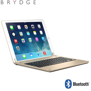 "This durable highly stylish Brydge iPad aluminium Bluetooth keyboard case in gold lets you type faster, while at the same time protecting your iPad Pro 12.9"" and also features backlit keys."
