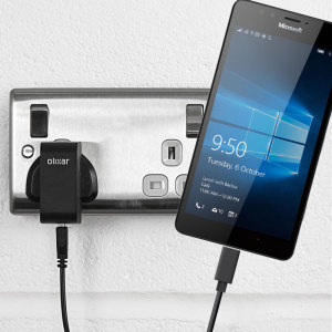 Charge your Microsoft Lumia 950 and any other USB device quickly and conveniently with this compatible 2.5A high power USB-C UK charging kit. Featuring a UK wall adapter and USB-C cable.
