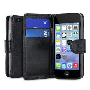 Wrap your iPhone 5S / 5 in luxurious, sophisticated protection with the black Encase Leather-Style Wallet Stand Case. This stylish case has credit card slots and can transform into a convenient viewing stand.