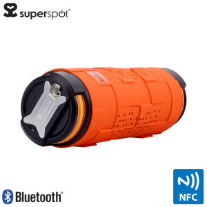 Meet the ultimate outdoor speaker that delivers crisp and powerful audio anywhere. The Toughtube speaker from Superspot in orange features NFC and Bluetooth compatibility, while the 5,200mAh power bank allows your phone to keep going all day.