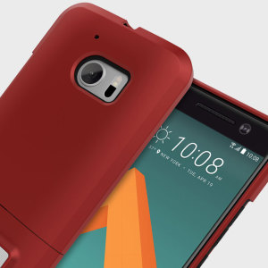 A sleek and slimline soft-touch red / black case for the HTC 10. Offering superb protection, minimal bulk and integrated kickstand for viewing media.