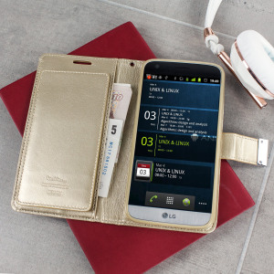 With the perfect blend of elegance, functionality and protection, this luxurious wallet case from Mercury in gold is the ideal companion for your LG G5. Featuring 5 card slots and a document pocket its the complete wallet case solution.
