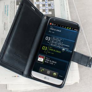 Det här lyxiga plånboksfodralet för din LG G5 är den perfekta mixen mellan elegans, funktionalitet och skydd. Tillverkat i lyxigt mjukt konstläder med 5 inbyggda fickor och ett fack gör det utan tvekan till ett dröm fodral.