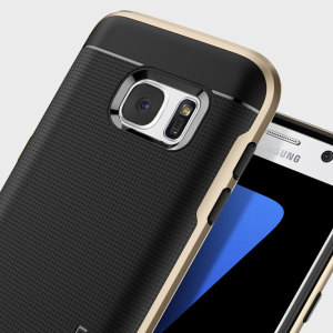 The Spigen Neo Hybrid in champagne gold is the new leader in lightweight protective cases. The new Air Cushion Technology corners reduce the thickness of the case while providing optimal protection for your Samsung Galaxy S7.
