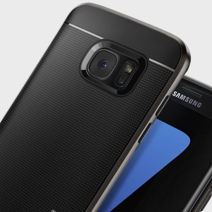 The Spigen Neo Hybrid in gunmetal grey is the new leader in lightweight protective cases. The new Air Cushion Technology corners reduce the thickness of the case while providing optimal protection for your Samsung Galaxy S7 Edge.