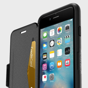 The folio version of OtterBox's signature Symmetry series provides all the rugged protection you'd come to expect but with some added extras. The Black Symmetry iPhone 6S / 6 folio case comes packed with a card slot and a stand feature for viewing media.