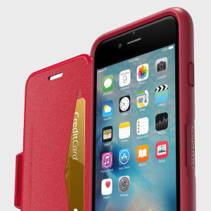 The folio version of OtterBox's signature Symmetry series provides all the rugged protection you'd come to expect but with some added extras. The red Symmetry iPhone 6S / 6 folio case comes packed with a card slot and a stand feature for viewing media.
