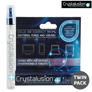 Extra value twin pack. Crystalusion Plus comes in a spray bottle and is so good at protecting your screen from bacteria and microbes that it has been registered as a class IIa medical device!