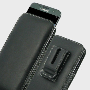 Protect your Samsung Galaxy S7 Edge with this stylish genuine leather vertical pouch case in black from PDair. Perfectly housing your S7 Edge, this pouch allows you to carry your phone comfortably via the attached belt clip.