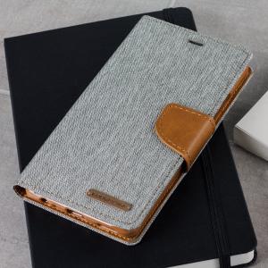 Elegante Mercury Canvas Tasche für das Huawei P9 mit integrierten Staufächern für Kreditkarten und mit magnetischem Verschluss.