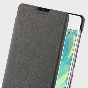 This officially licensed book flip case by Roxfit houses the Sony Xperia XA within a form fitting hard case and encloses it in a soft rubber inner lining and a black leather-style cover.
