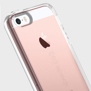 This completely clear CandyShell case from Speck for the iPhone SE has been made to military grade protection standards through custom engineered acrylic and impact dispersing polycarbonate to create the most stylish protection around.