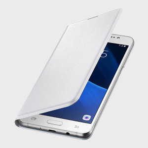 Protect your Samsung Galaxy J5 2016's back, sides and screen from harm while keeping your most vital cards close to hand with the official flip wallet cover in white from Samsung.