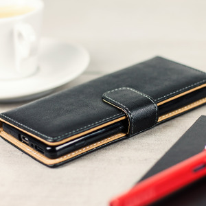 Protect your Sony Xperia XA with this durable and stylish black leather-style wallet case from Olixar. With luxurious tan lining and slots for your most important cards and documents. Leave the regular wallet at home.