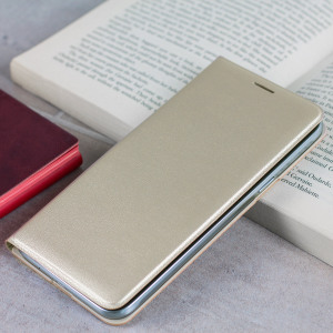 Protect your Samsung Galaxy J3 2016's back, sides and screen from harm while keeping your most vital cards close to hand with the official flip wallet cover in gold from Samsung.
